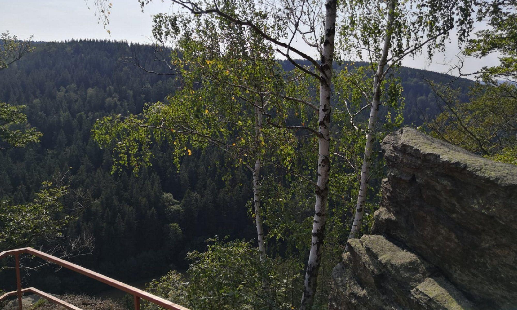Vogeltoffelfelsen mit Blick ins Schwarzwassertal